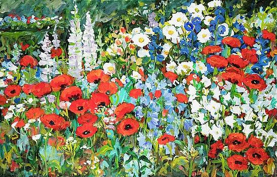 Floral Garden with Poppies by Ingrid Dohm
