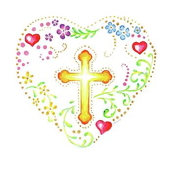 Floral Heart with Cross by Jenny McLaughlin