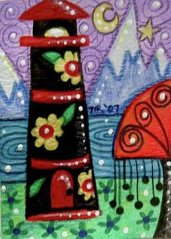 Floral Lighthouse with Mountain Background by Monica Resinger