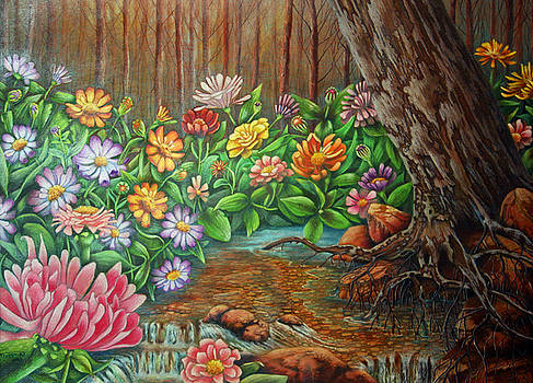 Floral lined creek by Teresa Frazier
