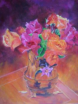 Floral paintings - Colorful Roses by Virgilla Lammons