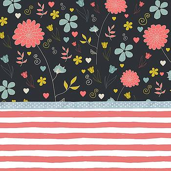 Floral Pattern With Bold Salmon Stripes by Modern Art