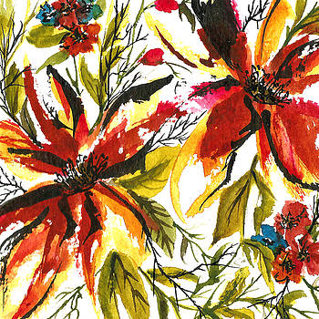 Floral Swatch- Red And Yellow by Garima Srivastava