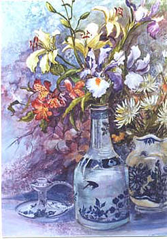 Floral with Delft Ware by Lois Mountz
