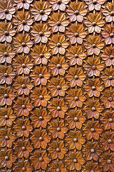 Floral Woodcarving on Door Panel Closeup by David Gn