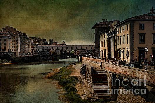 Florence River Arno and Ponte Vecchio by Barbara Dudzinska