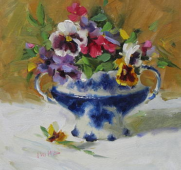 Flow Blue and Pansies by Judy Crowe