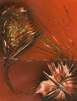 Jason Girard - Flower Abstract in Orange and Brown