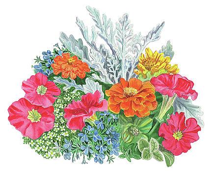 Irina Sztukowski - Flower Arrangement With Petunia Marigold And Sweet Allysum