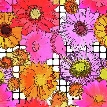 Flower Grid Abstract by Susan Lafleur