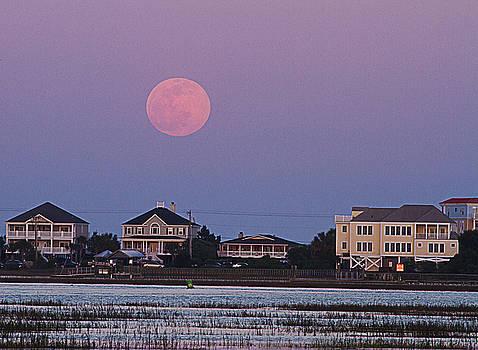 Flower Moon Over Garden City Beach by Bill Barber