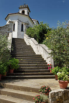Flower pots on the stairs to the catholic church of Saint Leonar by Reimar Gaertner