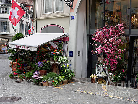 Flower shop in Old Town Zurich Switzerland by Louise Heusinkveld