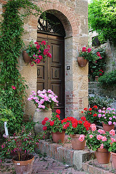 Flowered Montechiello Door by Donna Corless
