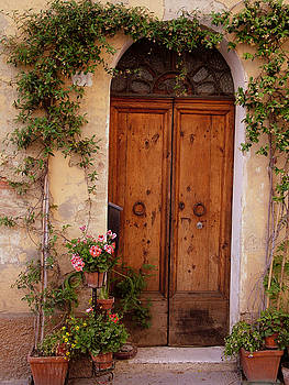 Flowered Tuscan Door by Donna Corless