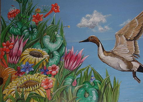Flowers and Bird by the Sea by Elvira de Kolb