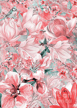 Flowers And Birds Pattern by Justyna JBJart