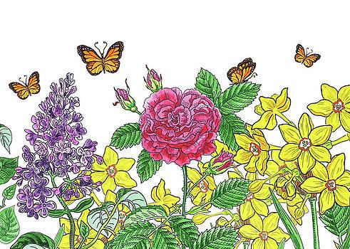 Irina Sztukowski - Flowers And Butterflies Watercolor Garden