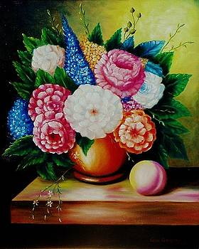 Flowers and peach by Gene Gregory
