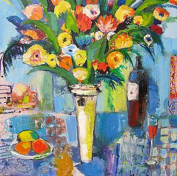 Flowers and wine by maria Antonia Cerda
