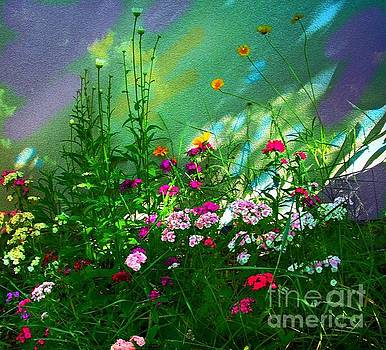 Flowers By Colorful Wall by Annie Gibbons