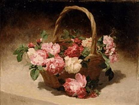 Flowers in a Basket by Achille CESBRON