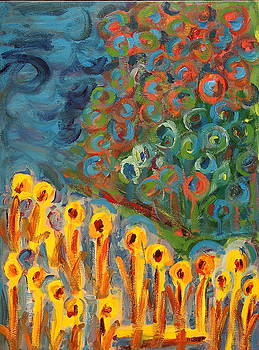 Flowers in a Blue Storm by Maggis Art