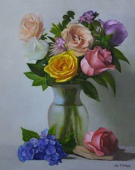 Flowers in a Glass Vase by Al Torres