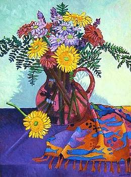 Flowers in a Purple Pitcher by Gainor Roberts