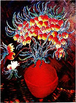 Flowers in a red vase by Brenda Adams