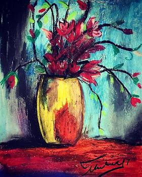 Flowers in a vase by Thelma Delgado
