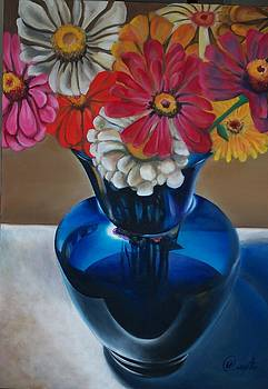 Flowers in blue vase by Erick Charpentier