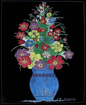 Flowers in blue vase by Julius Polonyi