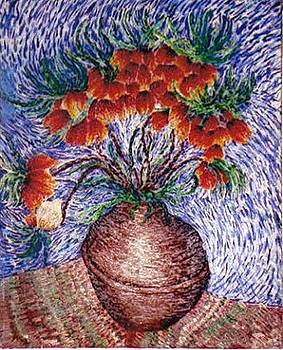 Flowers In Brown Vase by Brenda Adams