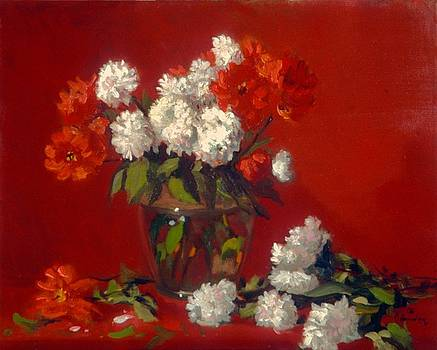Flowers in clear vase    Red background by David Olander