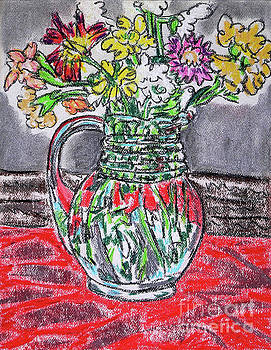 Flowers in Glass Pitcher by Gerhardt Isringhaus