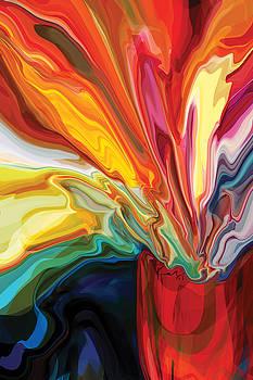 Flowers in Red Vase 2 by Rabi Khan