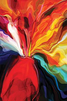 Flowers in Red Vase 3 by Rabi Khan