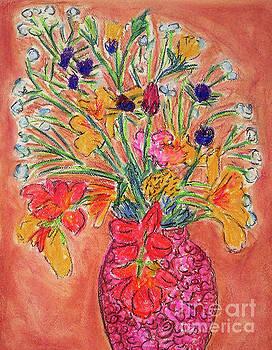 Flowers in Red Vase by Gerhardt Isringhaus