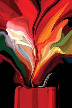 Flowers in Red Vase by Rabi Khan