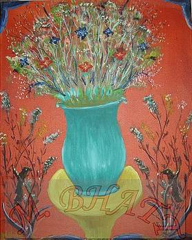Flowers in the blue vase by M Bhatt