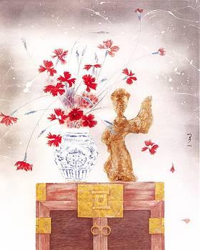 Flowers in vase-Pottery figurine  by Minxiao Liu