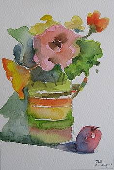 Flowers In Vase With Apple   by Janet Butler