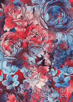 Flowers Red And Blue Pattern  by Justyna JBJart