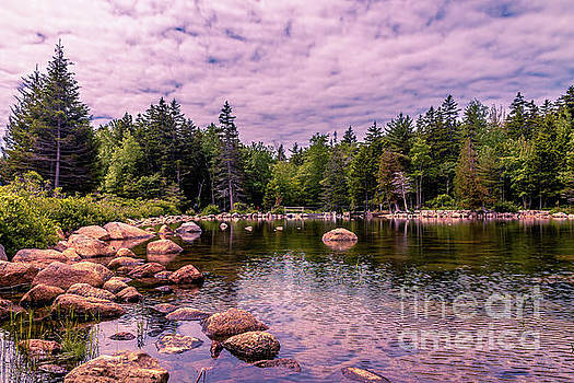 Fluffy clouds over Jordan Pond by Claudia M Photography