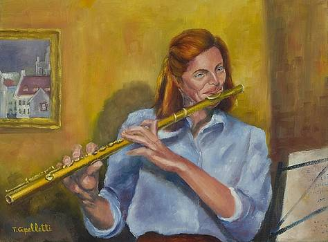 Flutist in blue by Terry Cipelletti