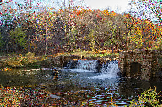 Fly Fishing at Valley Forge in Autumn by Bill Cannon