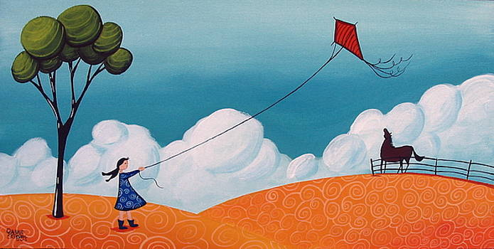 Flying With Becky - whimsical landscape by Debbie Criswell