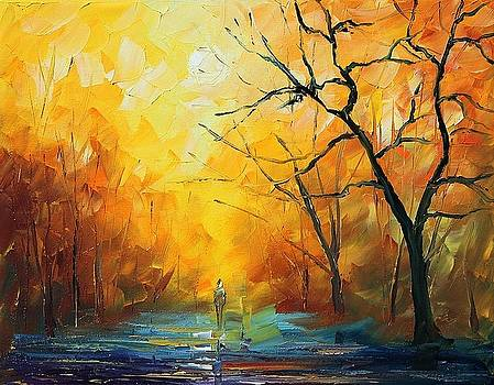 Fog - PALETTE KNIFE Oil Painting On Canvas By Leonid Afremov by Leonid Afremov