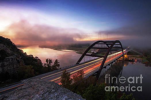Herronstock Prints - Fog rolls over the 360 Bridge during sunrise on a cold winters morning on Lake Austin, Texas